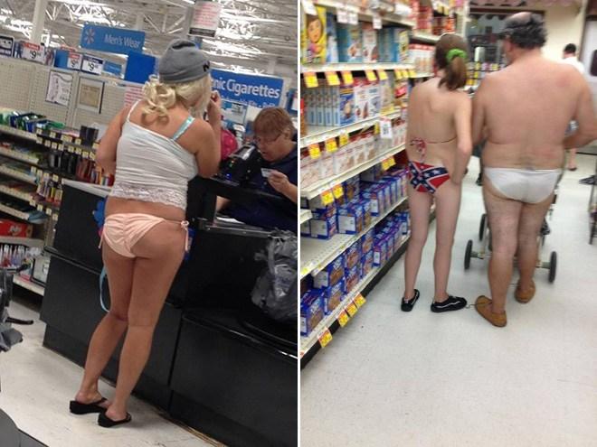 покупатели в нижнем белье в магазине