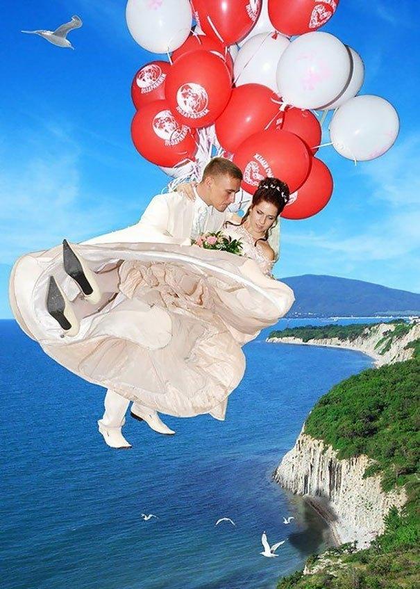 жених и невеста на воздушных шариках