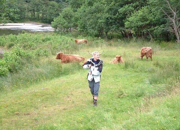 девушка на фоне коров