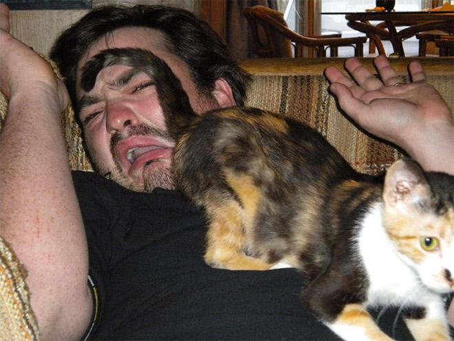 мужчина с кошкой на груди