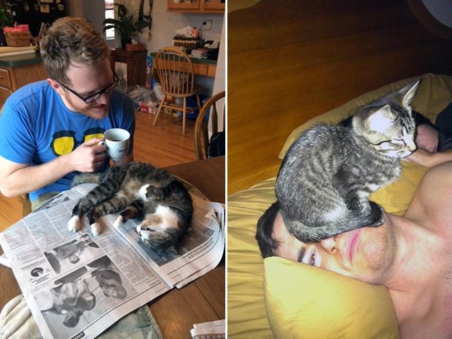 парни с полосатыми котами