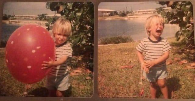 мальчик с красным воздушным шаром