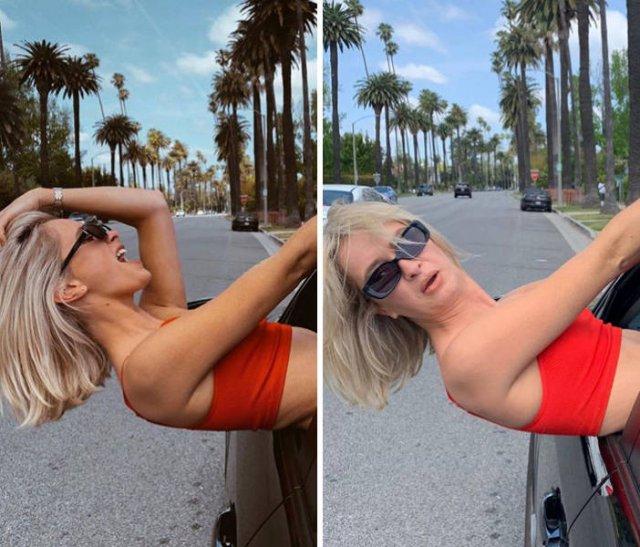 девушка торчит из окна машины