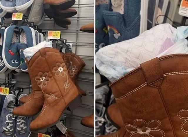 грязный памперс в обуви