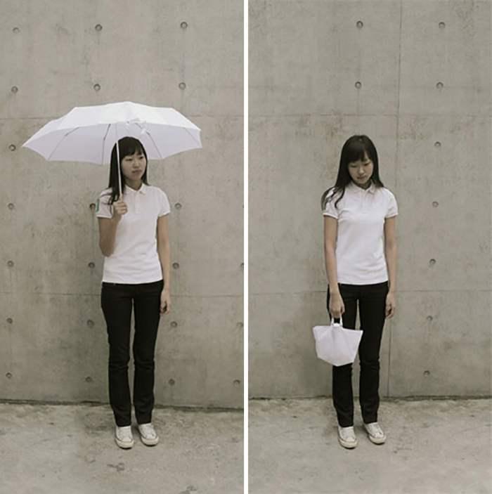 девушка с белым зонтом