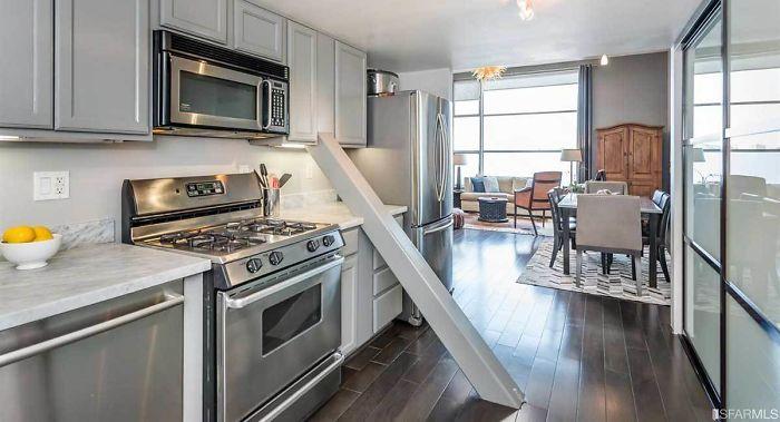 кухня в квартире лофт