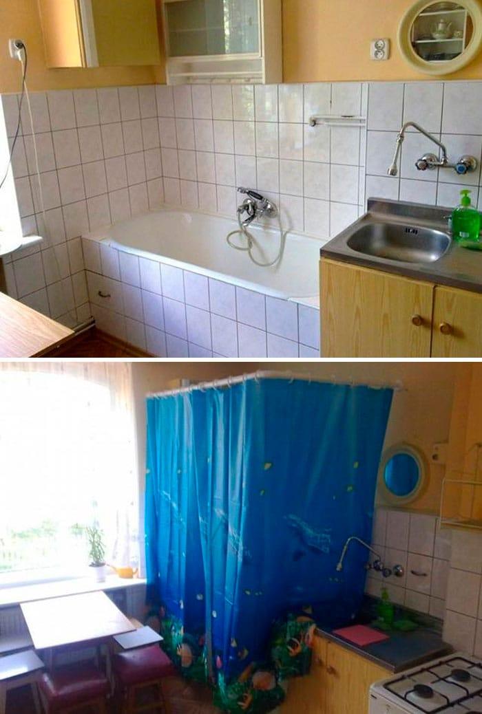 ванна в кухне