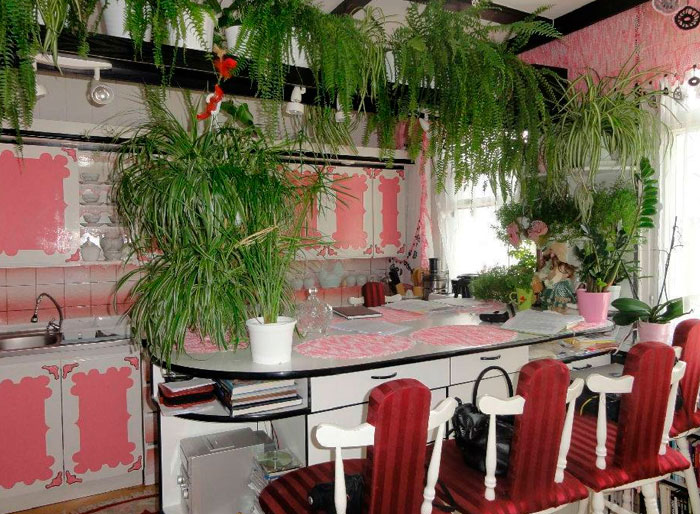 розовая кухня в цветах