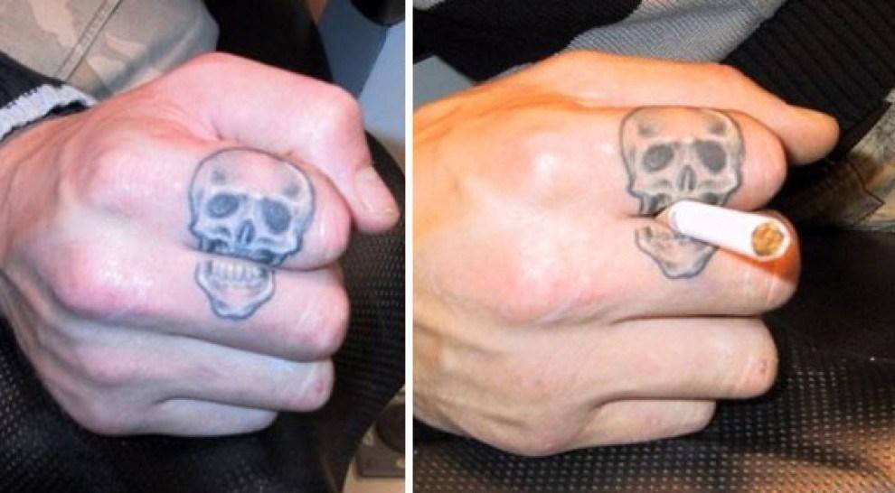 тату черепа на пальце