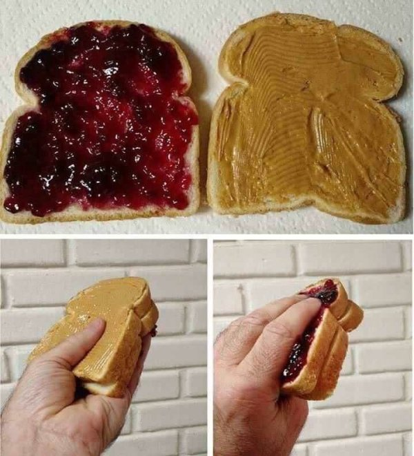 бутерброд с повидлом и маслом