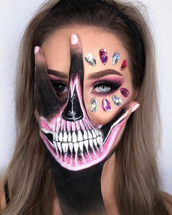 девушка с макияжем на хэллоуин