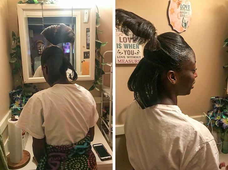 афроамериканка с высоким хвостом