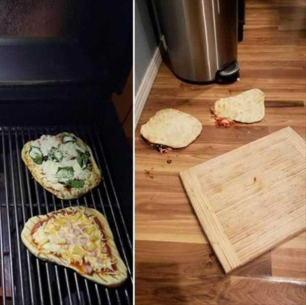 две пиццы на полу