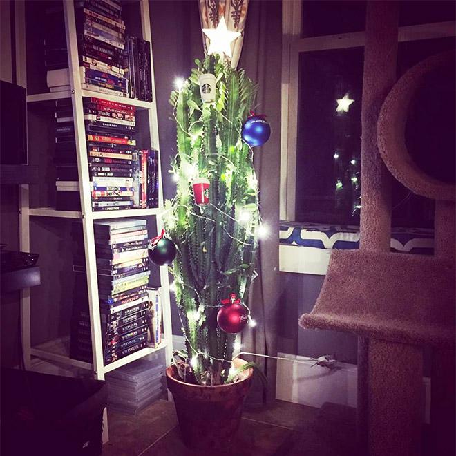 кактус с новогодними игрушками