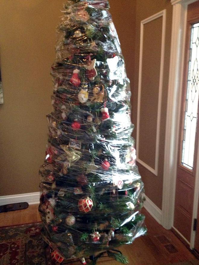 елка в пищевой пленке