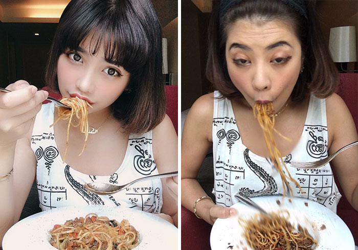 девушка ест спагетти