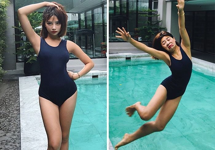 девушка позирует возле бассейна