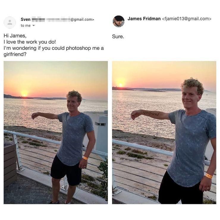 Фотошопер переделывает снимки подписчиков, как они просят — и выполняет просьбы до смешного дотошно «Можешь, сделать, чтобы, более, убрать, друзьями, будто, нравится, парня, сделаешь, Джеймс, «Джеймс, поручень»7, выровнять»9, выглядят, можешь, странно, держалась, рот»6, музее
