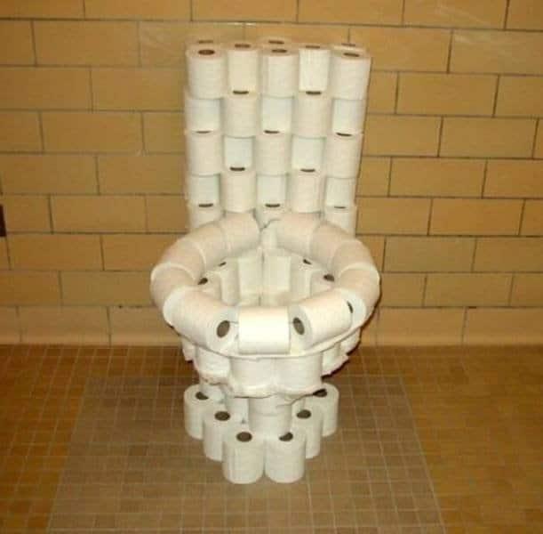 унитаз из туалетной бумаги