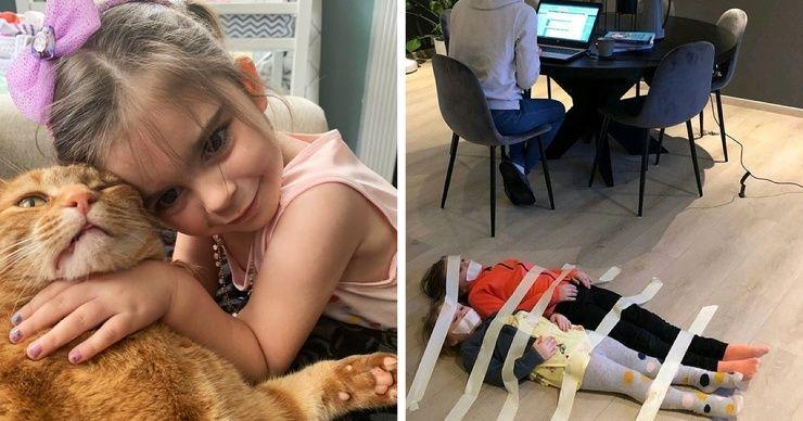 Взрослые поделились фото того, во что превратилась их жизнь, когда дети остались дома из-за карантина