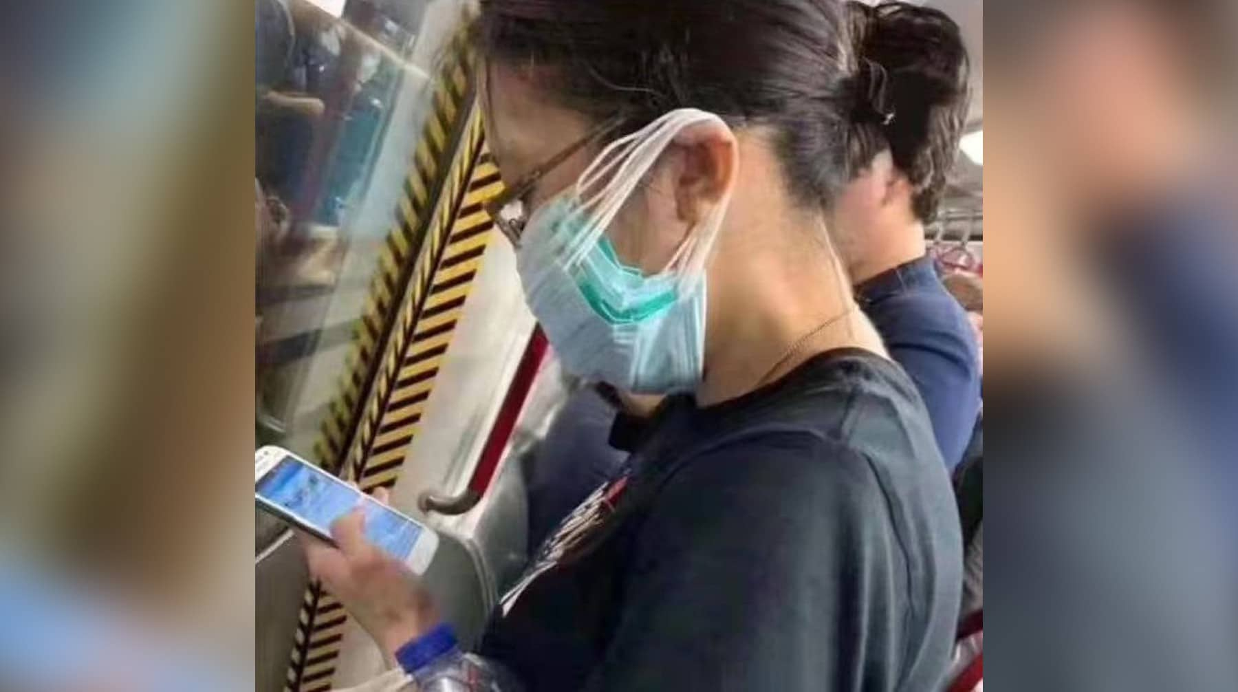 китаянка в очках и нескольких масках на лице