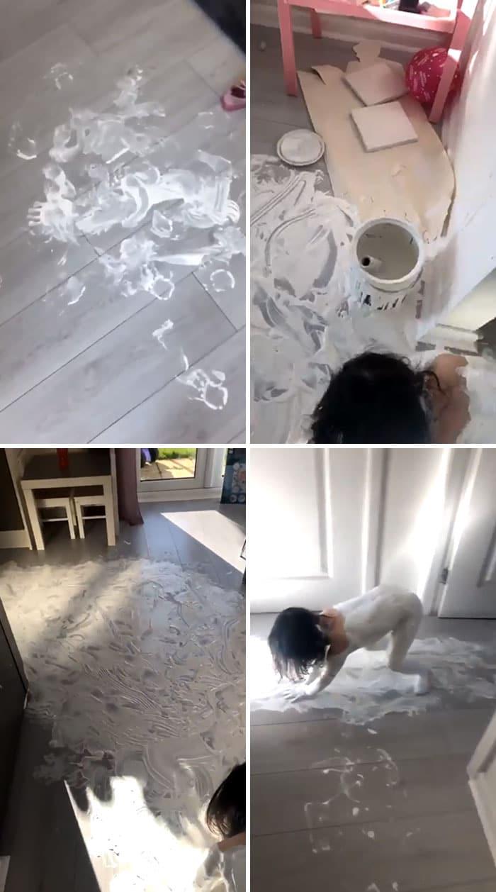 dziewczyna posmarowała podłogę białą farbą