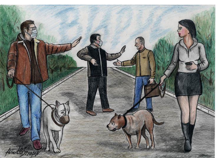 Рисунок «Прогулки на дистанции». Автор Альберт Растяпин Приколы,ekabu,ru