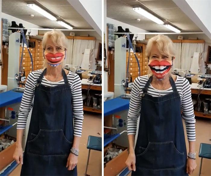 женщина блондинка в маске