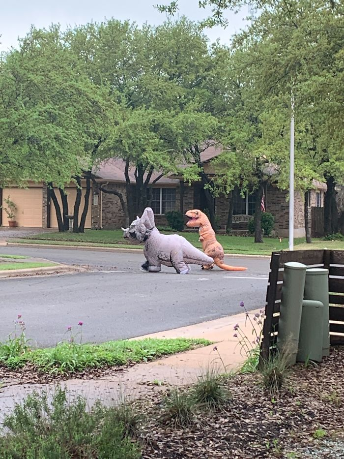люди в костюмах динозавров идут по улице