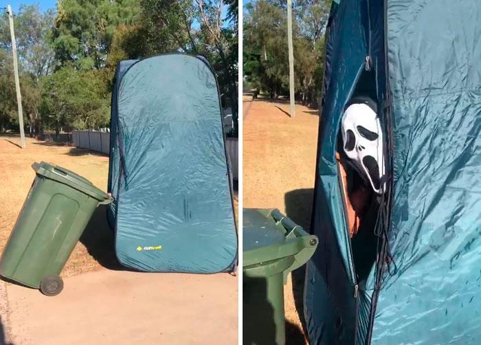 человек в маске крика в палатке