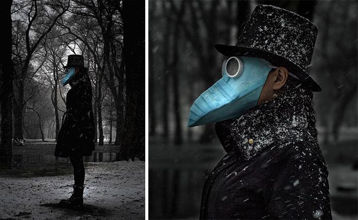мужчина в голубой маске и цилиндре