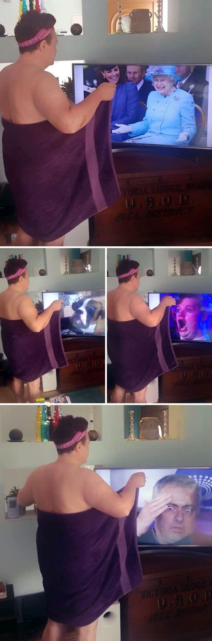 гэри макконахи в полотенце перед телевизором