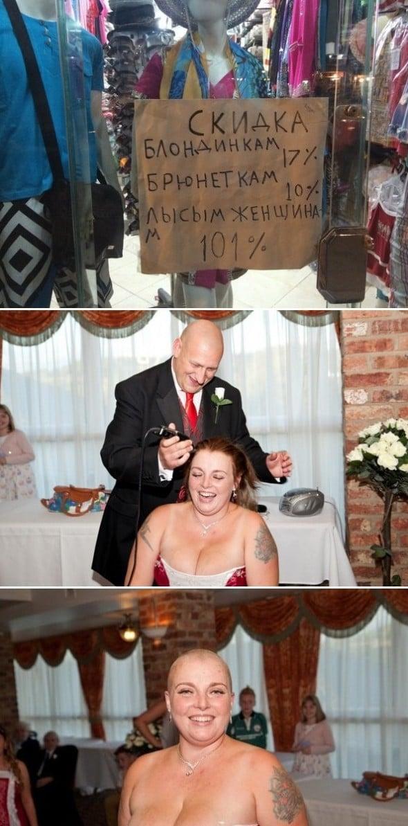 мужчина бреет женщине голову