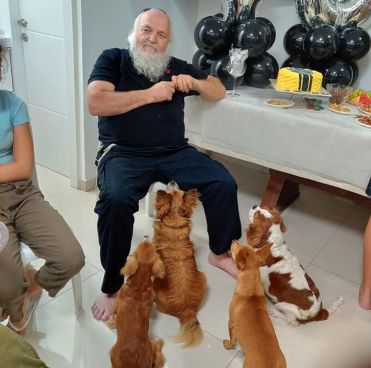 бородатый мужчина и четыре собаки