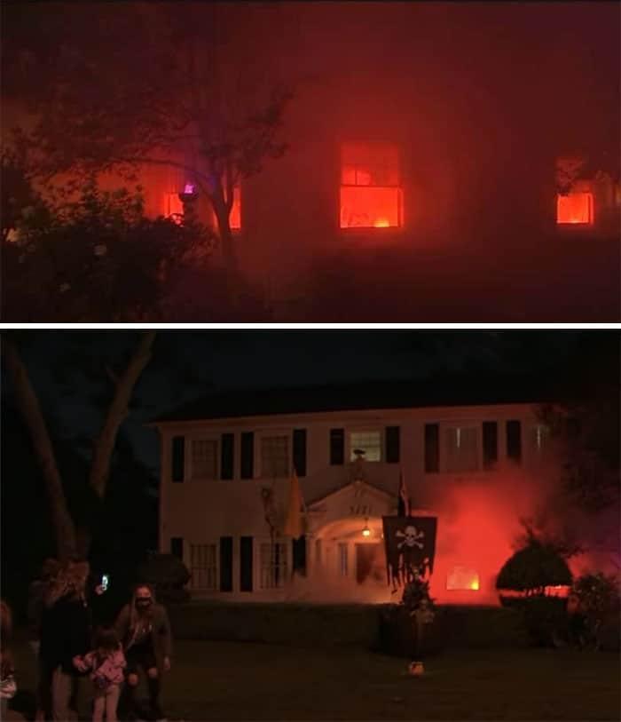 дом с искусственным огнем внутри