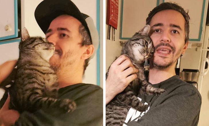 мужчина с полосатым котом на руках