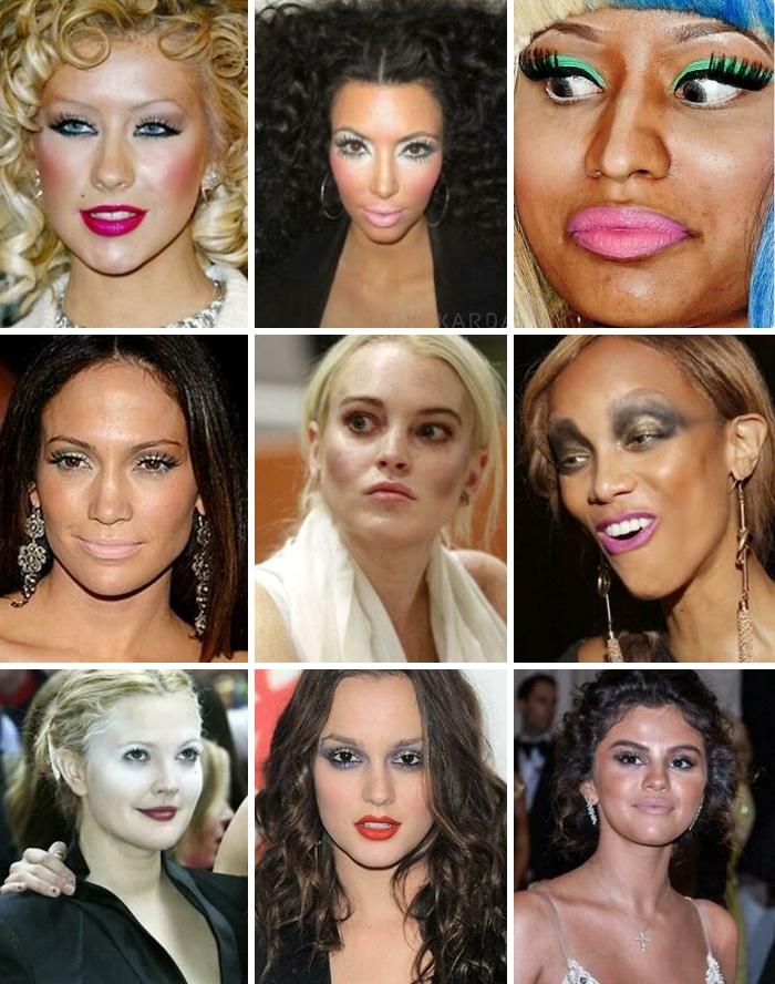 знаменитости с неудачным макияжем коллаж
