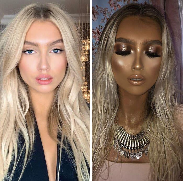 блондинка с длинными волосами до и после макияжа