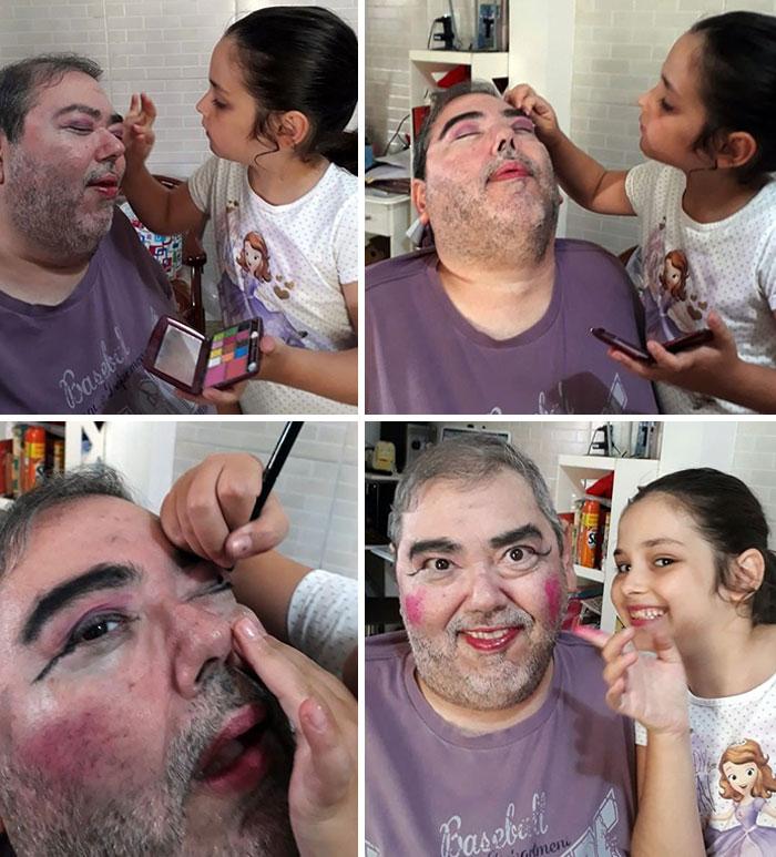 девочка наносит макияж отцу