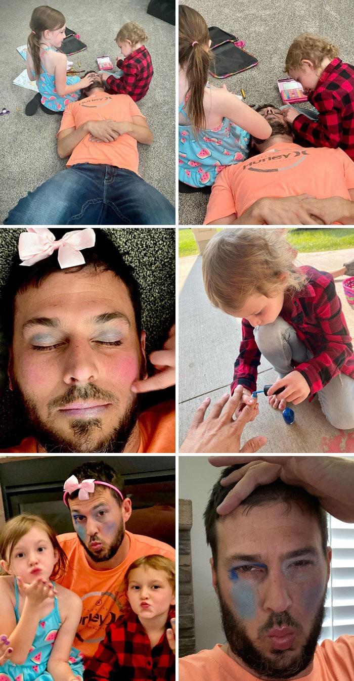 девочки красят отцу лицо и ногти