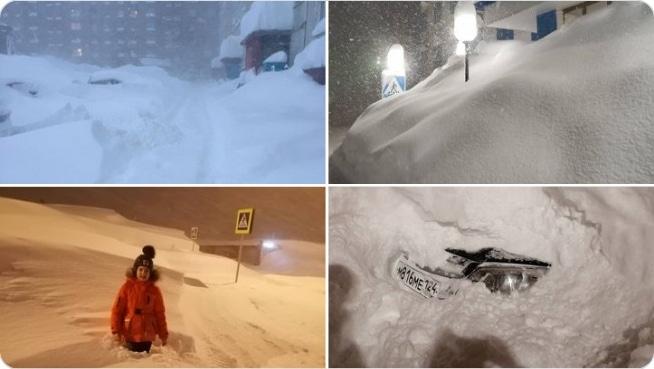 сугробы снега в норильске