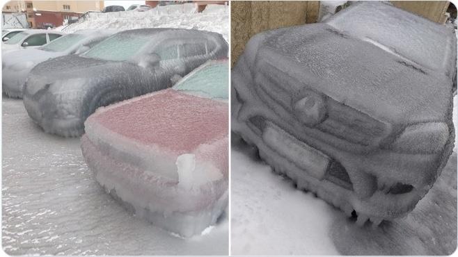 машины, покрытые льдом