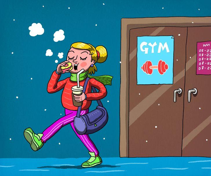 рисунок девушки, выходящей из спортзала