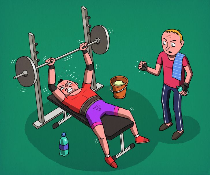 рисунок двух парней в тренажерном зале