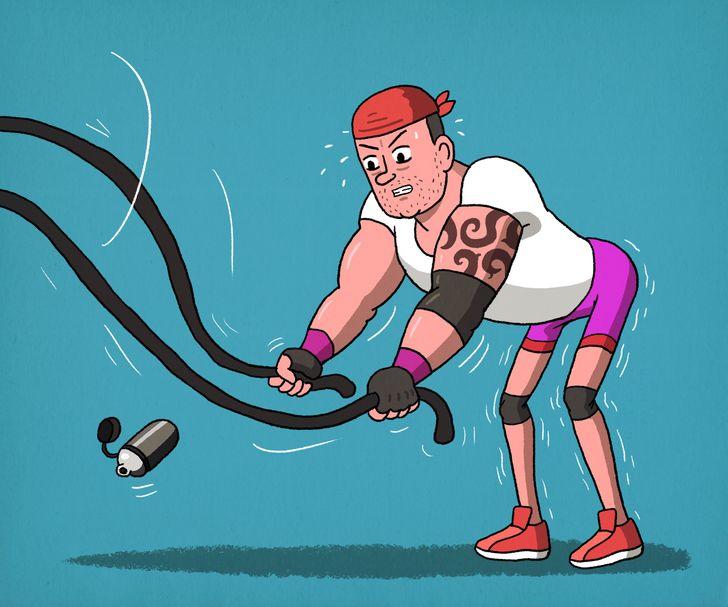 рисунок мужчины в спортзале