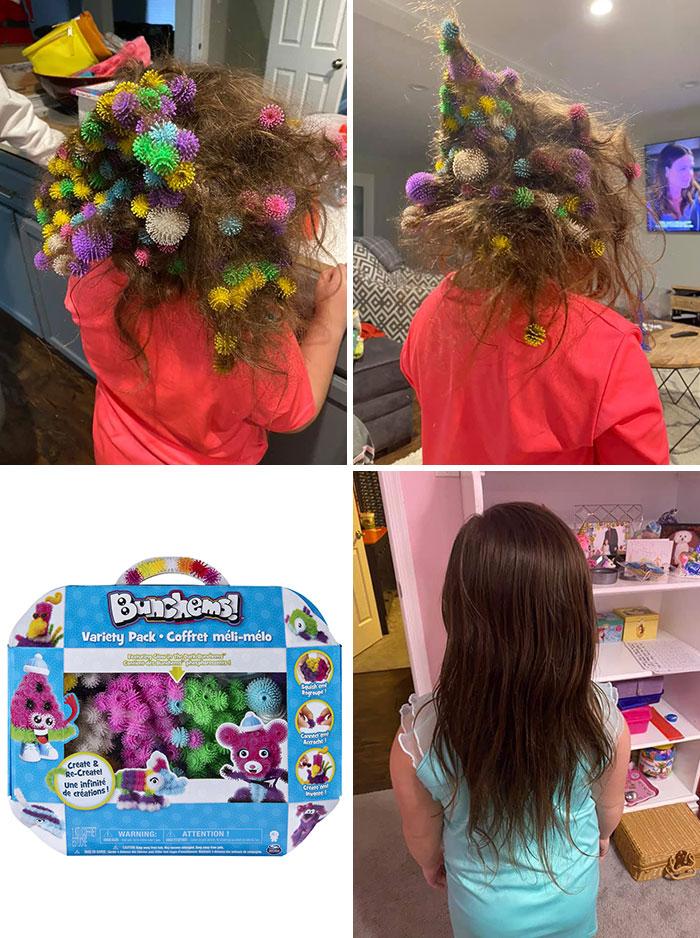 девочка с липучками в волосах
