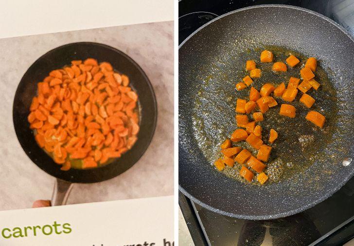 кусочки морковки на сковороде