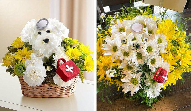 цветочная композиция в корзине