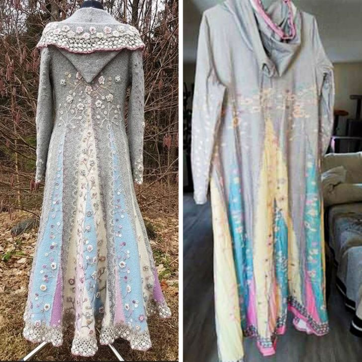 длинное серое женское пальто с вышивкой