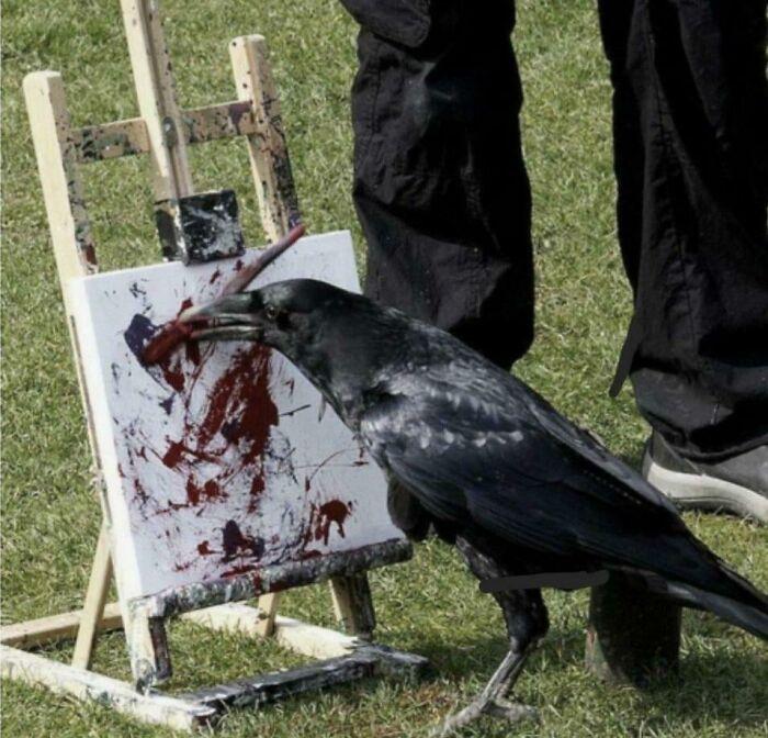 ворон рисует кистью на мольберте